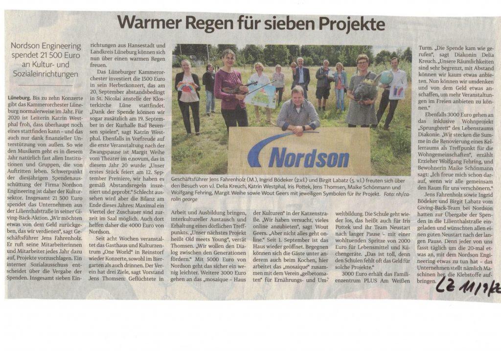 Artikel zur Spende von Nordson Engineering in der Landeszeitung vom 11. September 2020